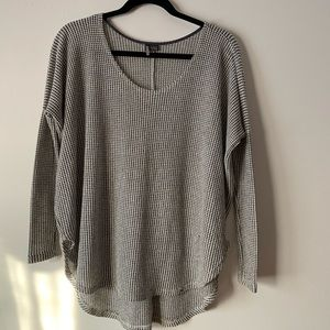 Sparkle and Fade white and black mesh sweater, XS